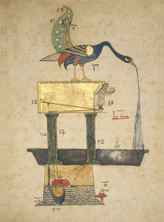 Al jazari (1136-1206) procédé ingenieux, illustration from the knowledge of ingenious mechanical devices by al jazari, turkey, 1354 (museum of fine arts, boston)